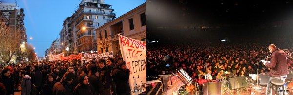 Manifestation et concert de solidarité à Thessalonique pour la relance de la production (février 2013)