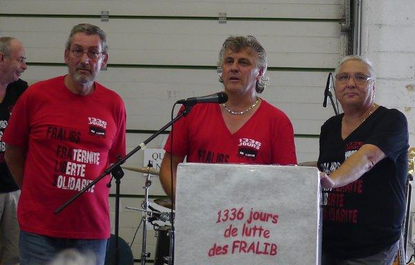 Meeting de la victoire. Gérard Affagard de la CFE-CGC, Olivier Leberquier et Gérard Cazorla de la CGT