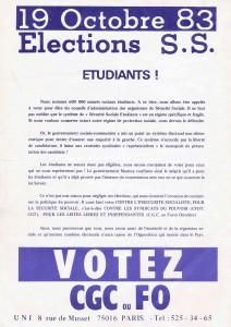 tract de l'UNI pour les élections à la sécurité sociale 1983